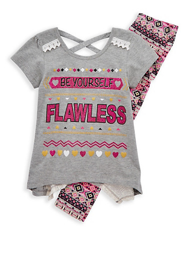Girls 4-6x Crochet Insert Graphic T Shirt with Printed Leggings,IVORY,large