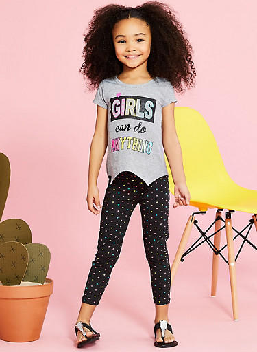 Girls 4-6x Striped Graphic T Shirt with Heart Print Leggings,BLACK,large