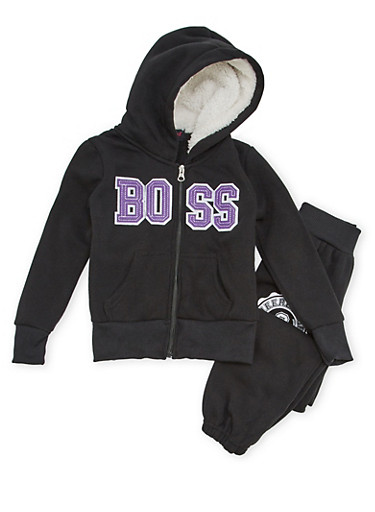Girls 4-6x Boss Graphic Hoodie and Joggers Set,BLACK,large