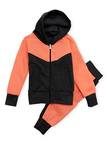 Girls 4-6x Hoodie and Joggers Set,CHARCOAL,large