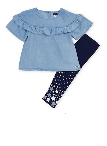 Girls 4-6x Kensie Ruffle Chambray Top with Leggings Set,LT BLUE DNM,large