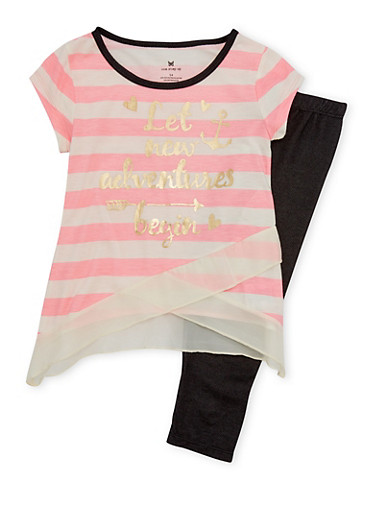 Girls 4-6x Striped Gold Foil Top with Knit Denim Leggings Set,PINK,large