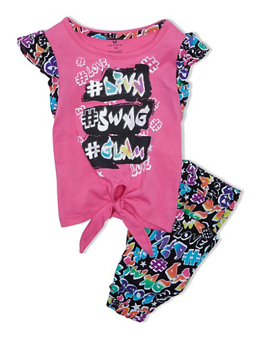 Girls 4-6X Jogger Set With Assorted Diva Swag Glam Graffiti Graphics,NEON PINK,large