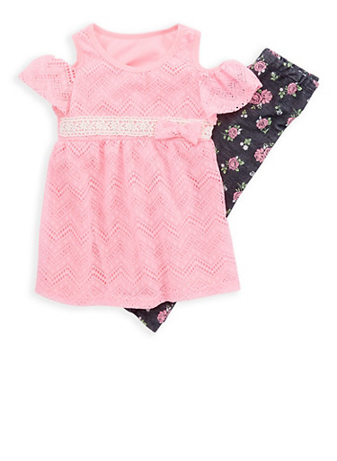 Girls 4-6x Crochet Lace Cold Shoulder Top with Floral Leggings Set,COLETTE LILLY,large