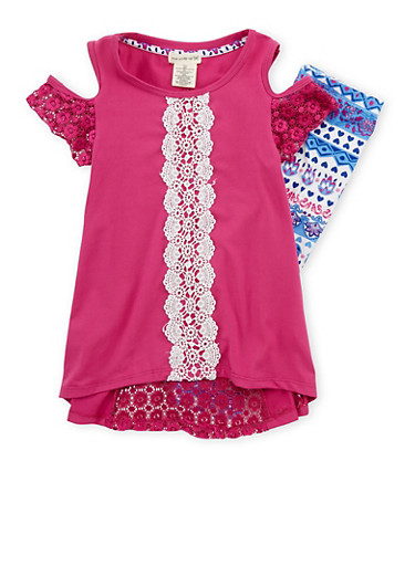 Girls 4-6x Soft Knit Crochet Trim Top with Printed Leggings,BERRY MULTI,large