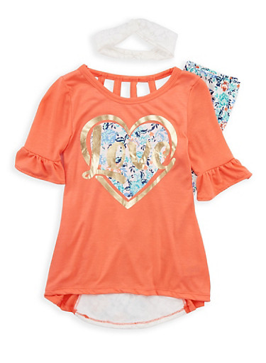 Girls 4-6x Graphic Top with Soft Knit Leggings and Headband,CORAL MULTI,large