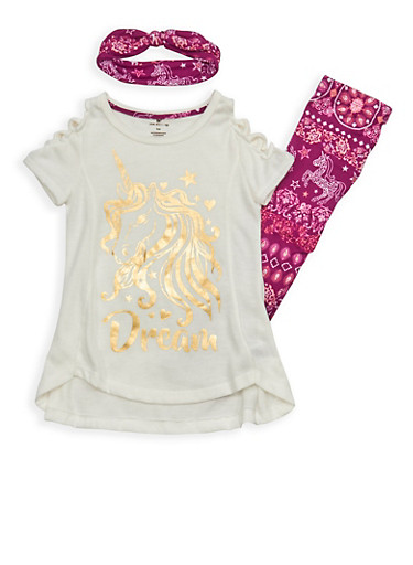 Girls 4-6x Unicorn Graphic Top with Soft Knit Leggings and Headband,BERRY MULTI/IVY,large