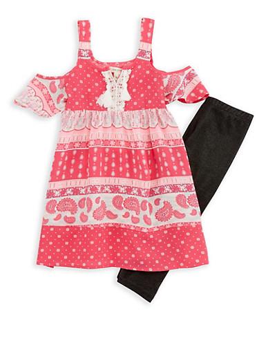 Girls 4-6x Cold Shoulder Top with Denim Knit Leggings,PINK,large