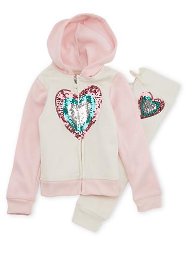 Girls 4-6x Sequin Heart Sweatshirt and Sweatpants,BLSH/CREAM,large