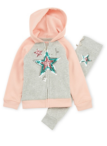 Girls 4-6x Sequin Star Sweatshirt and Sweatpants Set,CORAL/HGRY,large