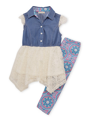 Girls 4-6x Chambray Button Front Lace Dress with Printed Leggings,WHITE/DENIM,large