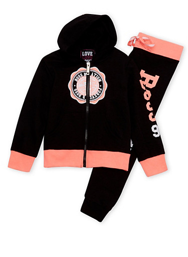 Girls 4-12 Graphic Varsity Hoodie with Joggers Set,BLACK,large