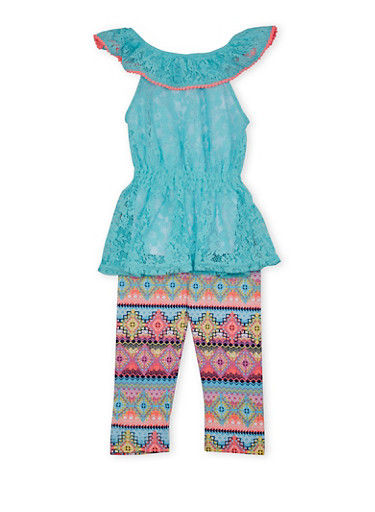 Girls 4-6x Lace Peplum Top and Leggings Set with Tribal Print,AQUA,large
