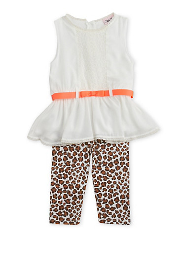 Girls 4-6x Sleeveless Peplum Top and Leggings Set with Belt and Leopard Print,LEOPARD PRINT,large