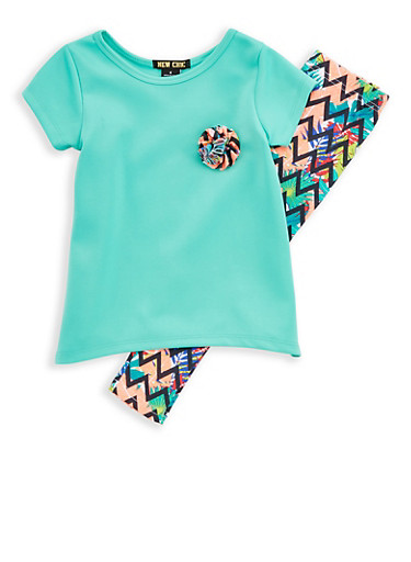 Girls 4-6x Ponte T Shirt and Printed Leggings,TURQUOISE,large