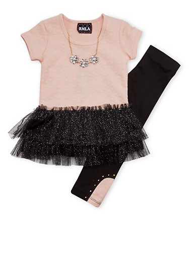 Girls 7-14 Tutu Top and Leggings with Necklace Set,PEACH,large