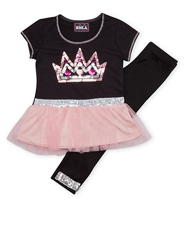 Girls 7-14 Sequined Top and Leggings Set,PINK,large