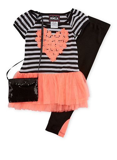 Girls 7-14 Tutu Dress Leggings and Purse with Heart Graphic,CORAL,large