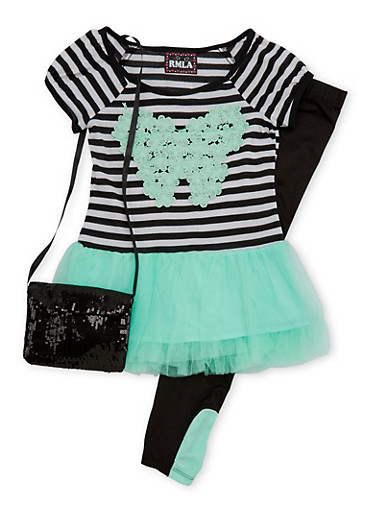 Girls 7-16 Striped Tutu Top and Leggings Set with Sequin Purse,MINT,large