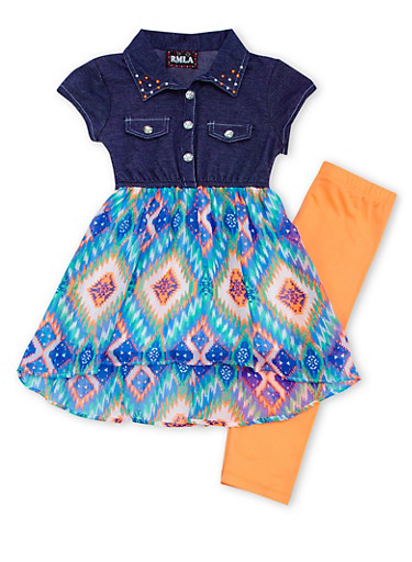 Girls 7-14 Knit Denim Dress with Printed Skirt and Solid Leggings Set,CORAL,large