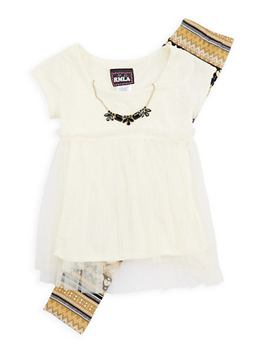 Girls 7-16 Tulle Top and Printed Leggings with Necklace,IVORY,large