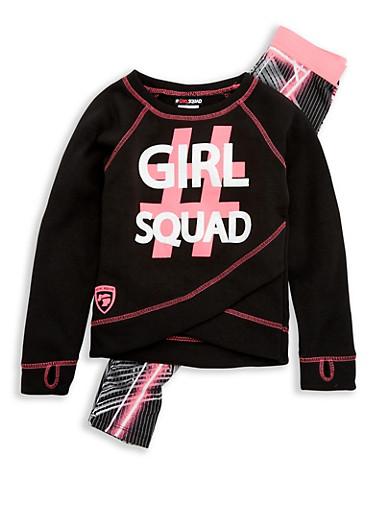 Girls 7-16 Girl Squad Graphic Sweatshirt and Printed Leggings,PINK,large