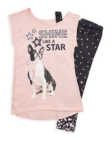 Girls 7-16 Star Graphic T Shirt with Leggings,BLACK,large