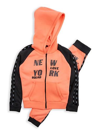 Girls 7-16 New York Graphic Sweatshirt and Sweatpants,CHAR/NCORAL,large