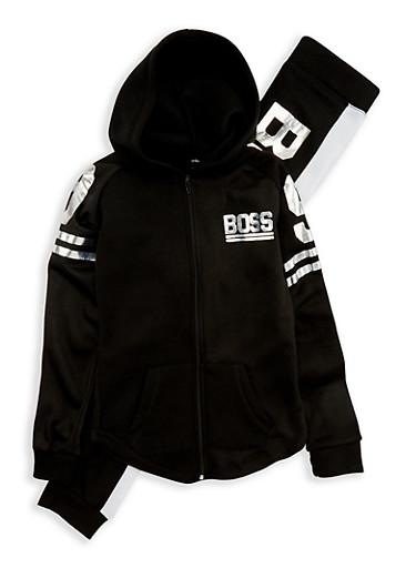 Girls 7-16 Boss Graphic Sweatshirt and Sweatpants,BLACK,large