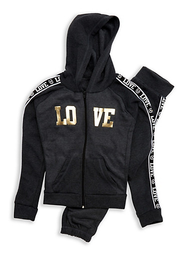Girls 7-16 Love Foil Graphic Sweatshirt and Sweatpants,CHAR/NLIME,large