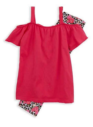 Girls 7-16 Off the Shoulder Top with Leopard Leggings,FUCHSIA,large