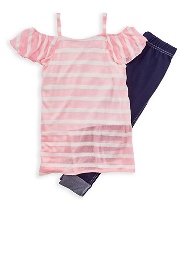 Girls 7-16 Striped Cold Shoulder Top with Cuffed Jeggings,WHITE/PINK,large