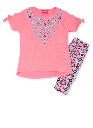Girls 7-16 Graphic Tee with Printed Leggings Set,PINK,large