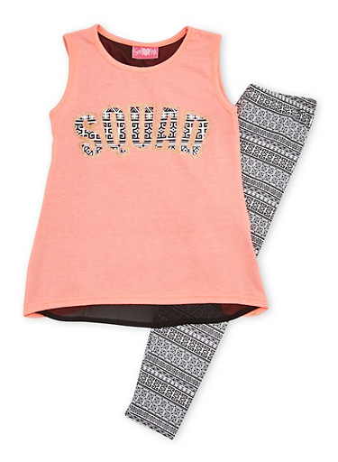 Girls 7-16 Squad Graphic Top with Leggings Set,CORAL,large