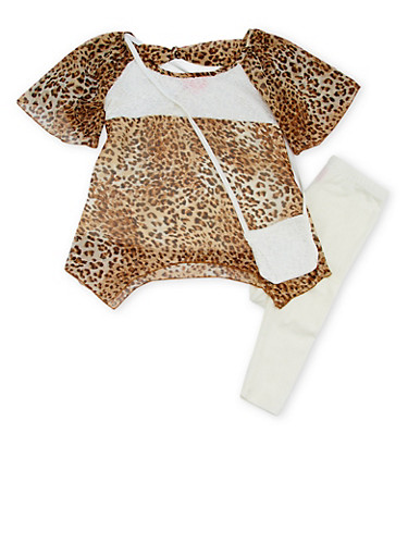 Girls 7-16 Leopard Print Top with Leggings and Purse Set,LEOPARD PRINT,large