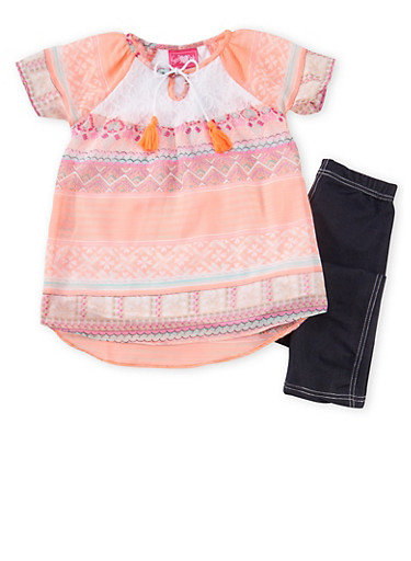 Girls 7-16 Printed Tunic Top with Jeggings Set,CORAL,large