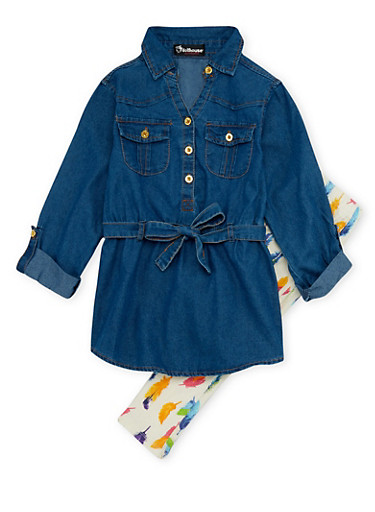 Girls 7-16 Denim Shirt Dress and Leggings with Feather Print,DENIM,large