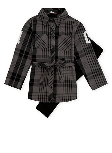 Girls 7-16 Belted Plaid Top and Leggings,CHARCOAL,large