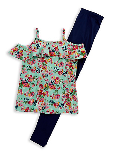 Girls 7-16 Soft Knit Floral Top with Leggings,MULTI COLOR,large