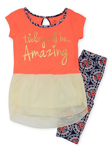 Girls 7-16 Chiffon Hem Graphic Top and Leggings Set,CORAL,large