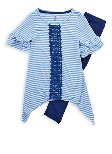 Girls 7-16 Striped Crochet Insert Top with Leggings,WHITE/BLUE,large
