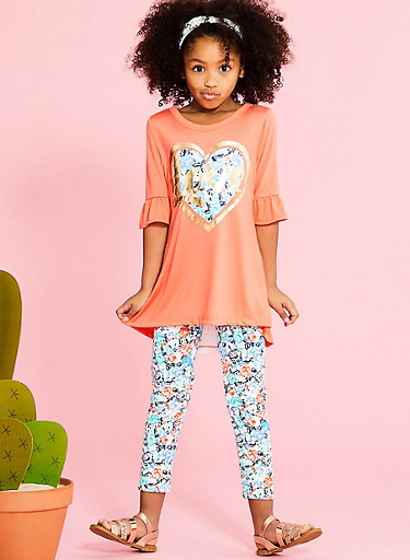 Girls 7-16 Graphic Lace Back Top with Leggings and Headband,CORAL MULTI,large
