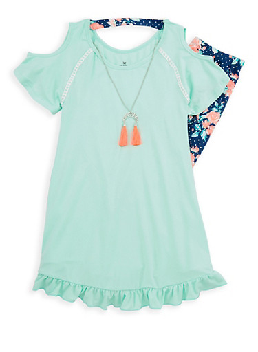 Girls 7-16 Ruffle Cold Shoulder Tunic Top and Printed Leggings,SEAFOAM,large