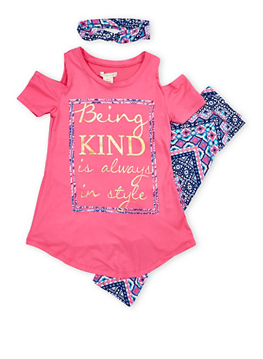 Girls 7-16 Foil Graphic Cold Shoulder Top with Printed Leggings and Headband,FUS MULTI,large