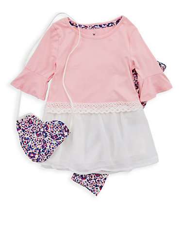 Girls 7-16 Bell Sleeve Chiffon Hem Top with Printed Leggings and Purse,MAUVE,large
