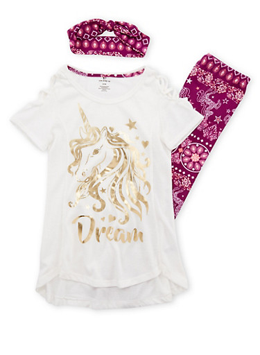 Girls 7-16 Unicorn Graphic Top with Leggings and Headband,BERRY MULTI/IVY,large