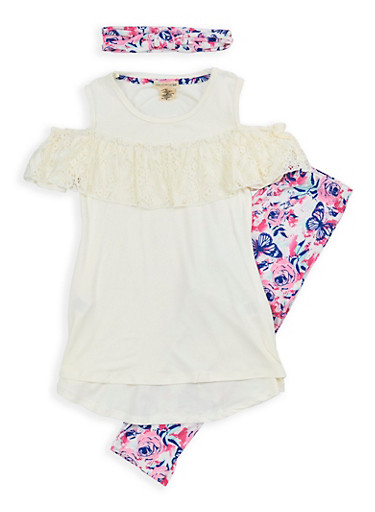 Girls 7-16 Soft Knit Top with Printed Leggings and Headband,IVORY MULTI,large