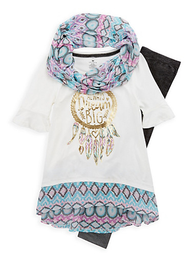 Girls 7-16 Foil Graphic Top with Leggings and Scarf,IVORY MULTI,large