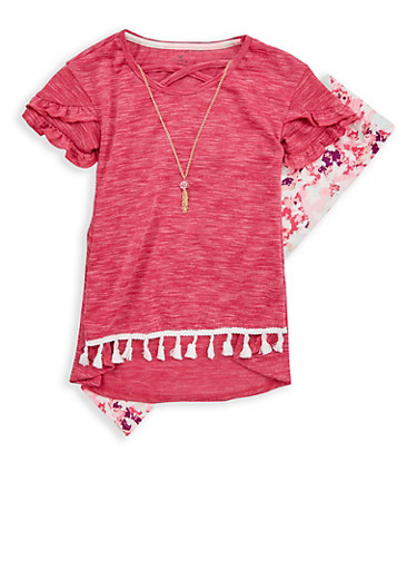Girls 7-16 Necklace Top with Printed Soft Knit Leggings,PINK,large