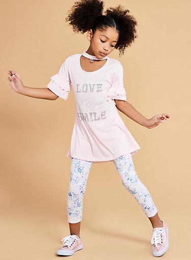 Girls 7-16 Rhinestone Graphic T Shirt with Printed Leggings,ROSE,large